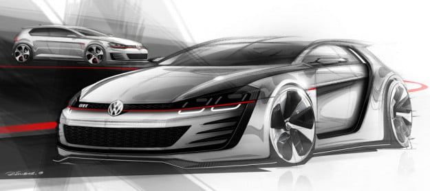 Volkswagen Design Vision GTI sketch front three quarter