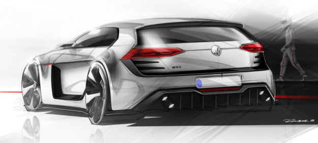 Volkswagen Design Vision GTI sketch rear three quarter