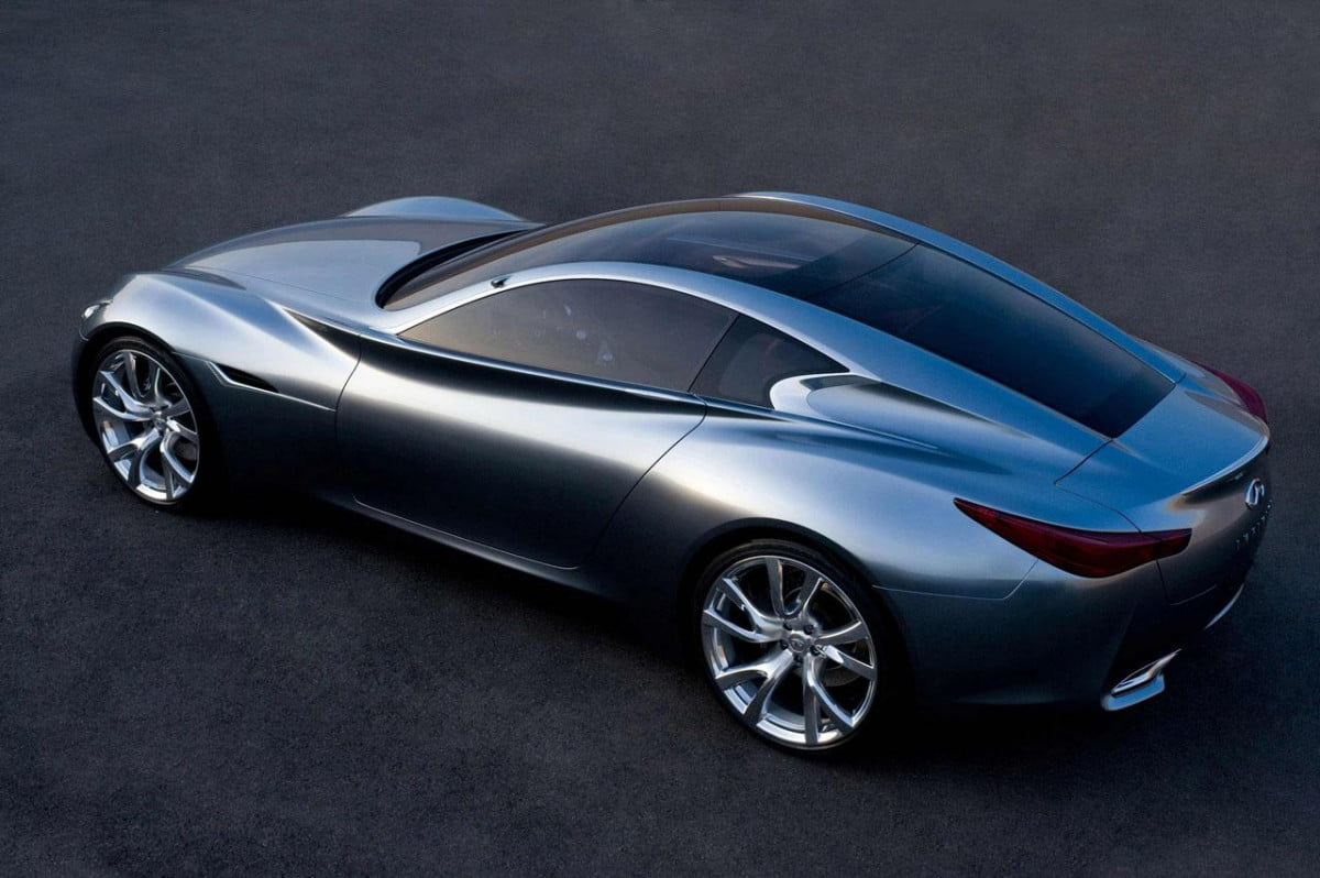 infiniti flagship could be a porsche panamera rival essence concept rear three quarter overhead