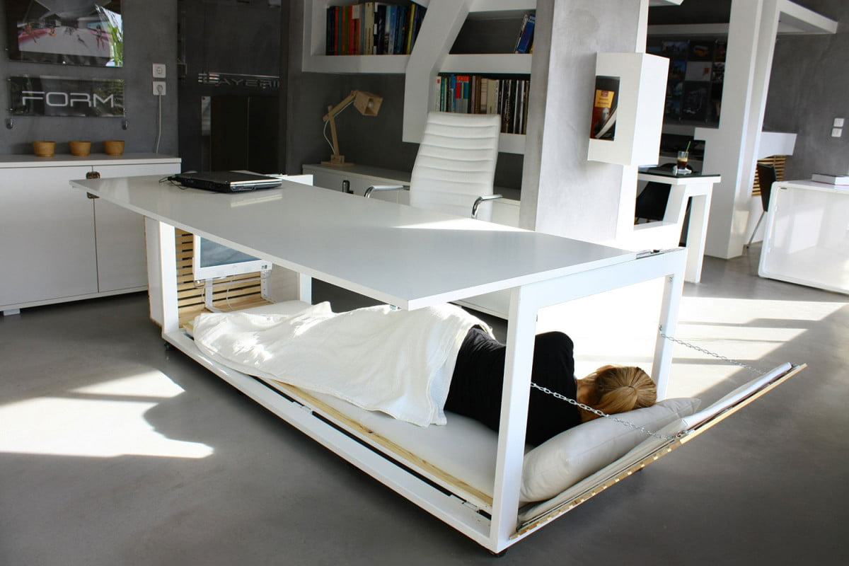 this bed desk would make it easy to nap at work  s m of life