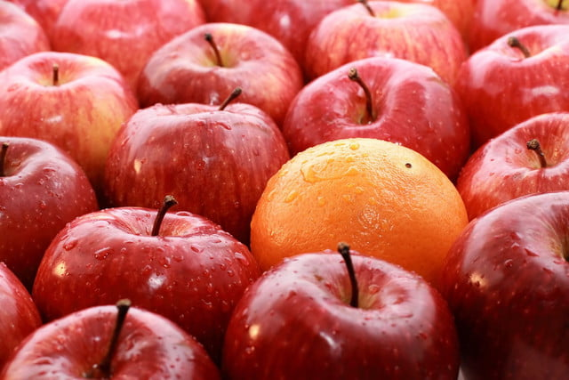 uc berkeley ai software unpaired image transfer  apples and oranges isolated on a white background