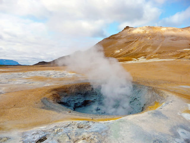 iceland geothermal energy  active fumarole in summer time