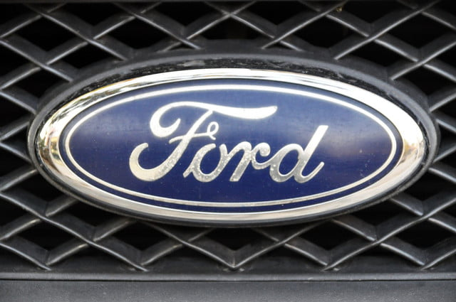 ford patents smart camera dolly  close up logo chrome metal