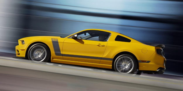 2013 Ford Mustang Boss 302 yellow profile