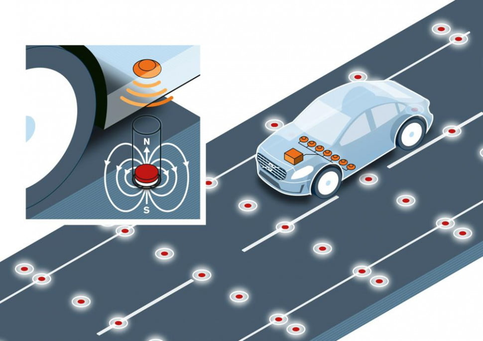 Volvo road magnets for self-driving cars