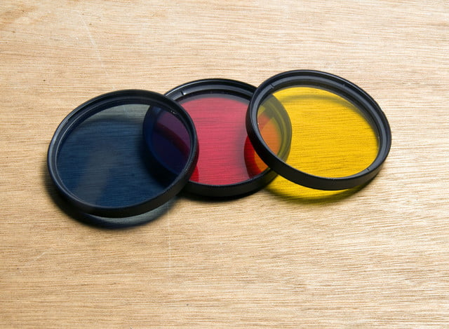 toshiba single lens  d camera screw in filters blue red yellow for black amp white film