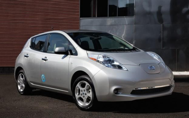 Nissan Leaf front three-quarter view