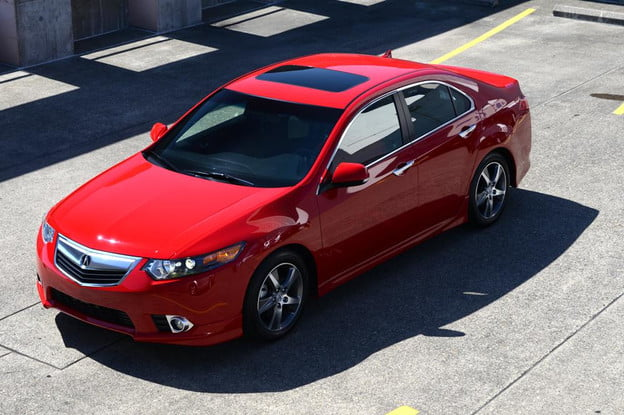 2012 Accura tsx exterior front top left angle sedan review