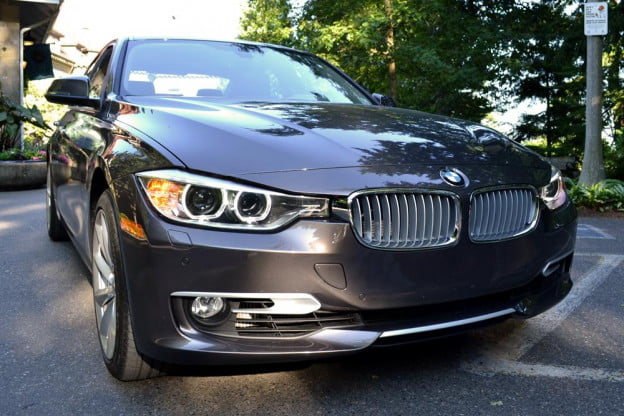 2012 BMW 335i review exterior front right angle sedan car review