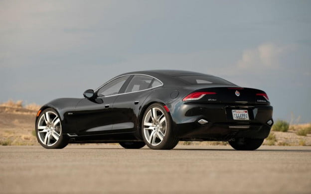 Fisker Karma black rear three quarter view