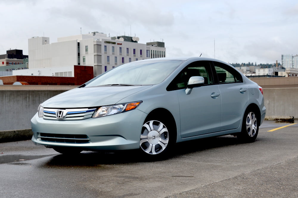 2012 Honda Civic Hybrid review front left angle 4 door car review