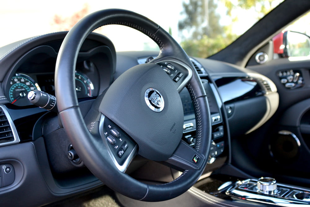2012 Jaguar XKR review steering wheel angle interior