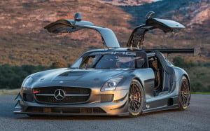 Mercedes-Benz SLS AMG GT3 45th Anniversary Edition front-three quarter view doors open