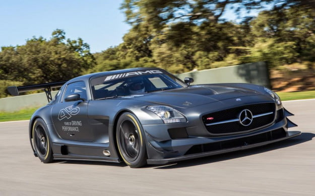 Mercedes-Benz SLS AMG GT3 45th Anniversary Edition front-three quarter motion view