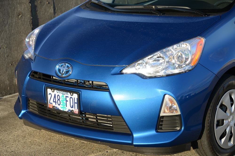2012 Toyota Prius C Review front grill hybrid car