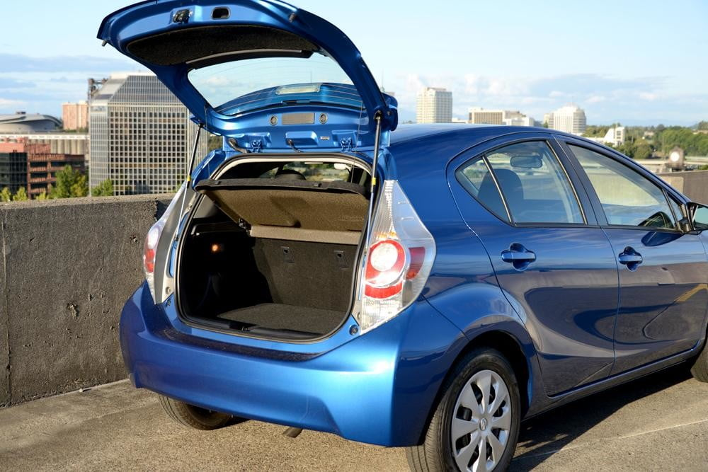 2012 Toyota Prius C Review rear trunk hybrid car