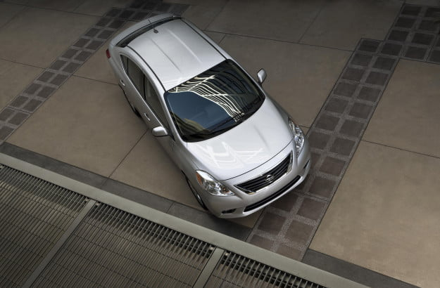 2012 nissan versa review subcompact car top down roof angle