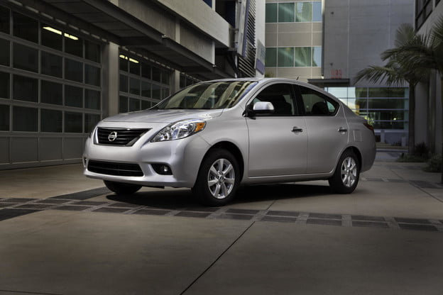 2012 nissa versa front side angle subcompact car