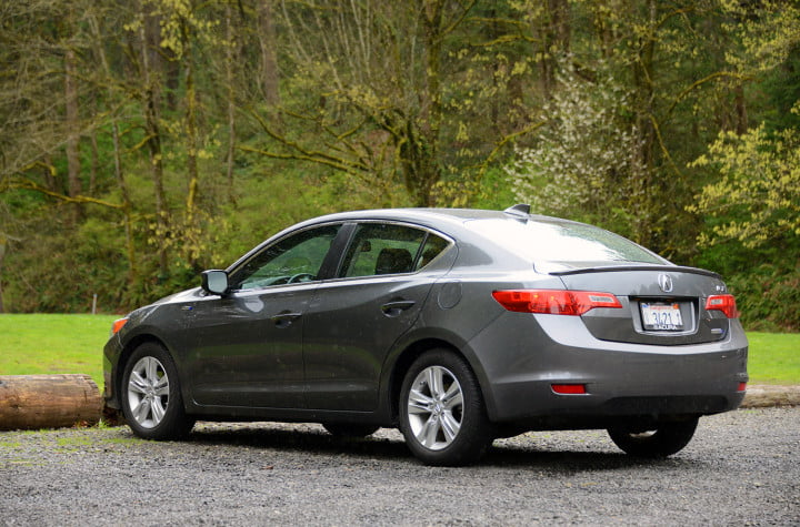 review  acura ilx hybrid mixes honda mpg with upmarket goodies exterior back left