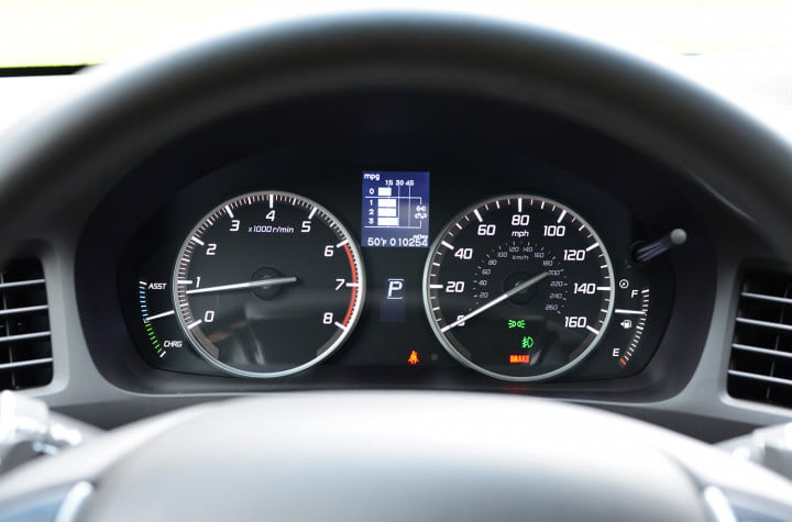 review  acura ilx hybrid mixes honda mpg with upmarket goodies interior speedometer odometer