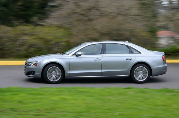 2013 audi a8 exterior left side motion