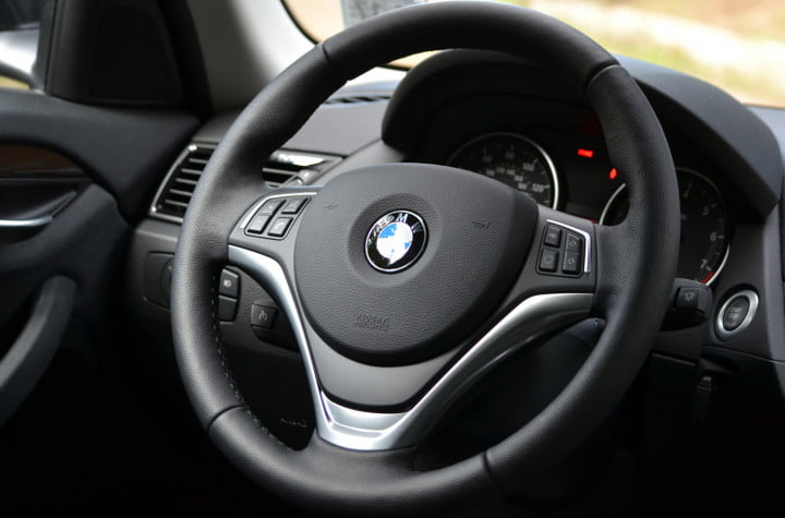 bmw x review steering wheel