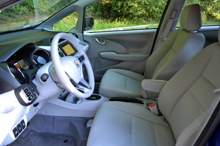 honda fit ev review interior front side view