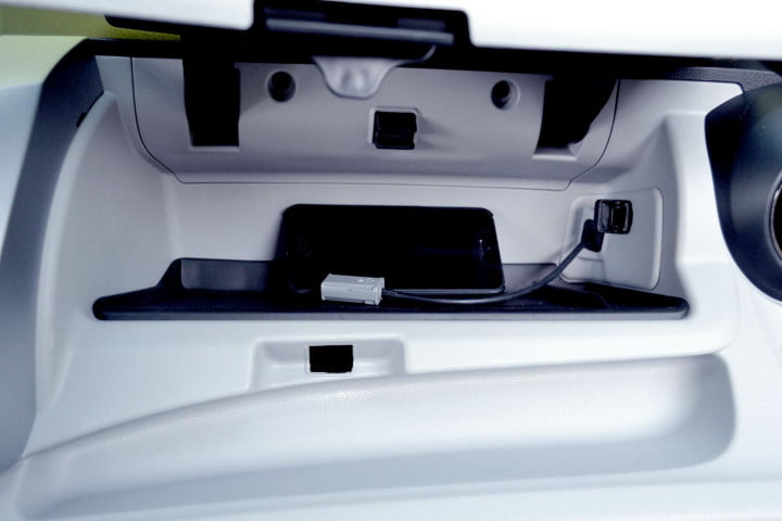 honda fit ev review interior glove compartment open