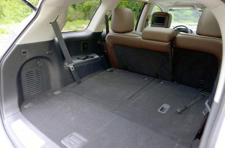 infiniti jx review infinity interior rear cargo area seats down
