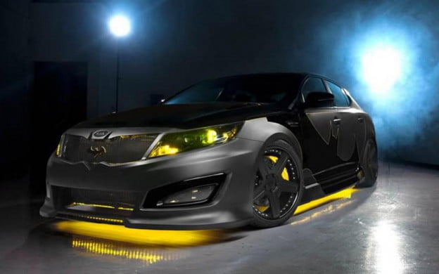 Kia Optima Batman front three-quarter view