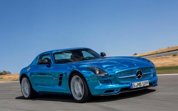 Mercedes-Benz SLS AMG Electric Drive front three-quarter motion view