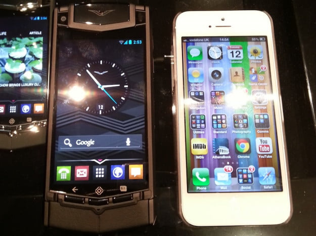 Vertu TI next to iPhone 5
