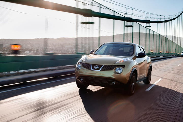 2014 Nissan Juke driving over a bridge