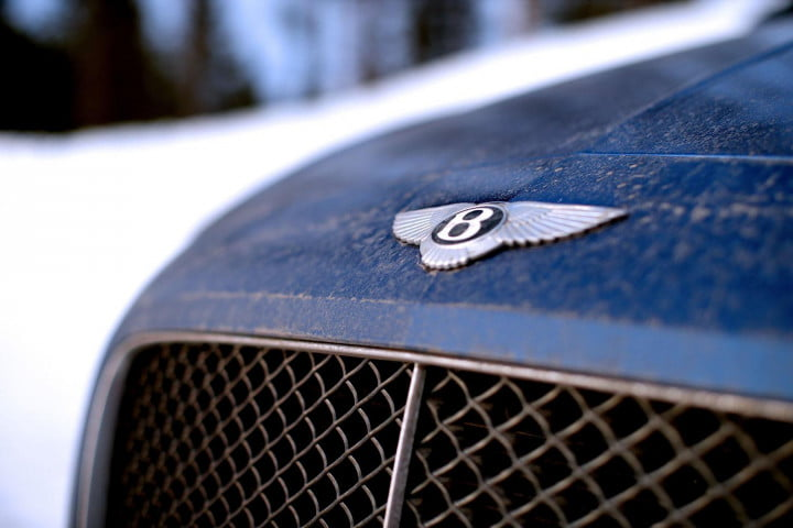 bentley continental gt speed review blue front logo macro