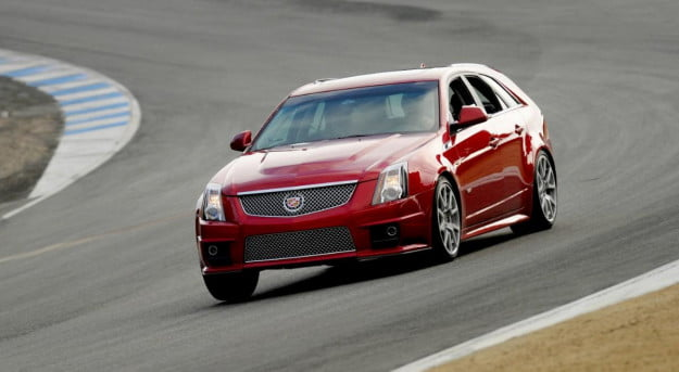 Cadillac CTS-V wagon on track