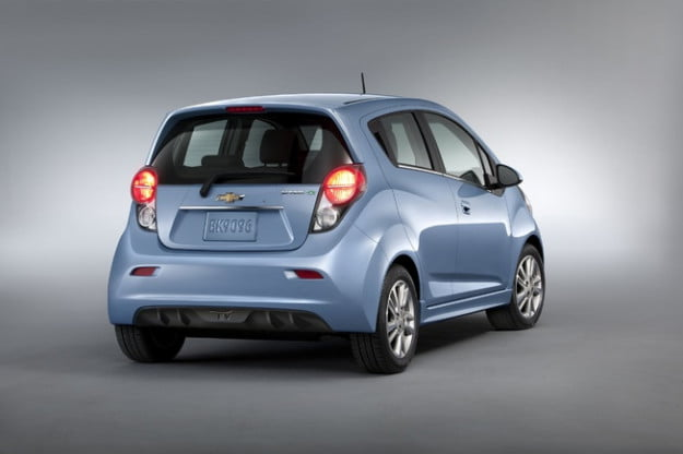 2014 Chevy Spark EV rear three quarter view