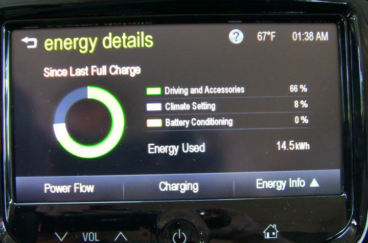 2014 Chevy Spark EV first drive tech energy details screen