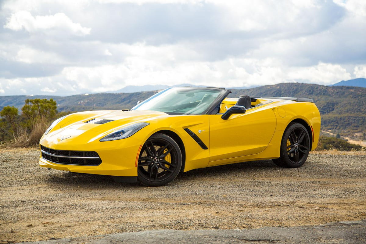 corvette stingray aims knock new eight speed automatic convertible front left angle