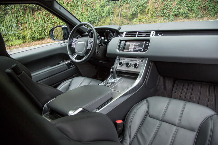 land rover range sport review front interior from back angle