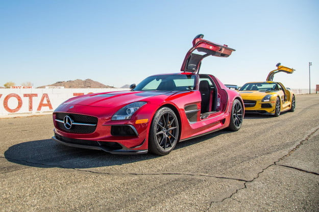 2014 Mercedes Benz SLS AMG Black Series back red yellow