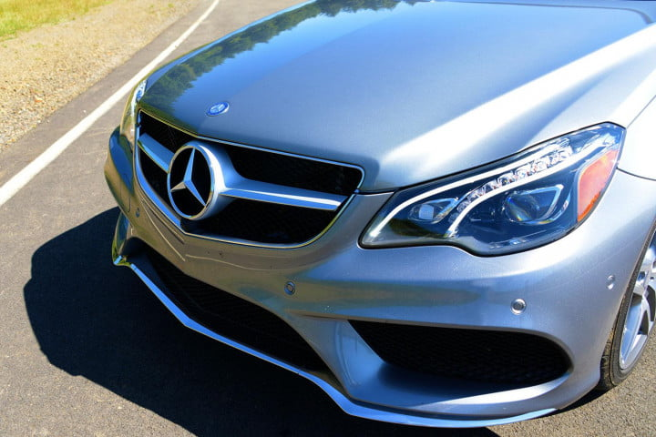 first drive  mercedes benz e class exterior front angle macro