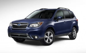 2014 Subaru Forester front three quarter view blue
