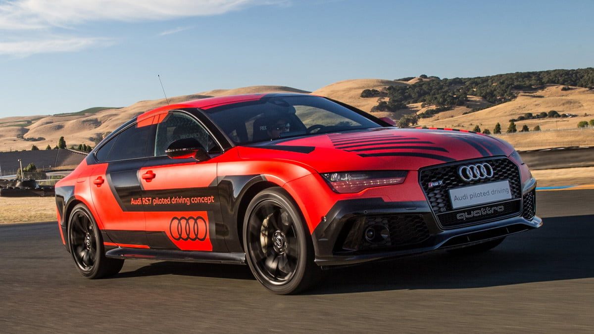 audi autonomous car testing thunderhill raceway  rs piloted driving prototype robby at sonoma