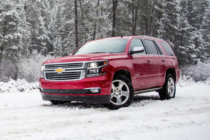 versus chevrolet tahoe front angle snow