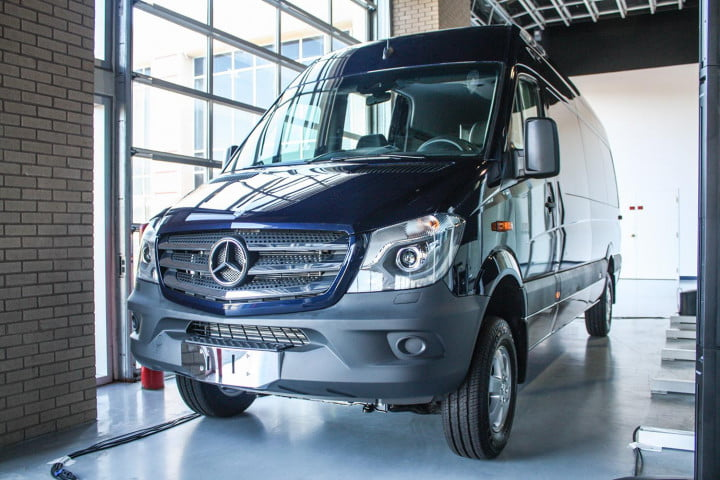 first drive  mercedes benz sprinter blue front angle