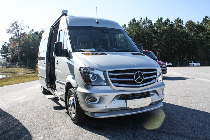 first drive  mercedes benz sprinter front silver angle