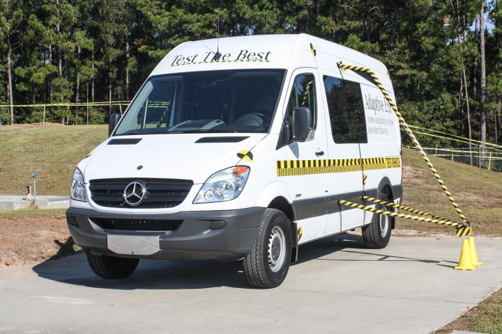 first drive  mercedes benz sprinter front white angle