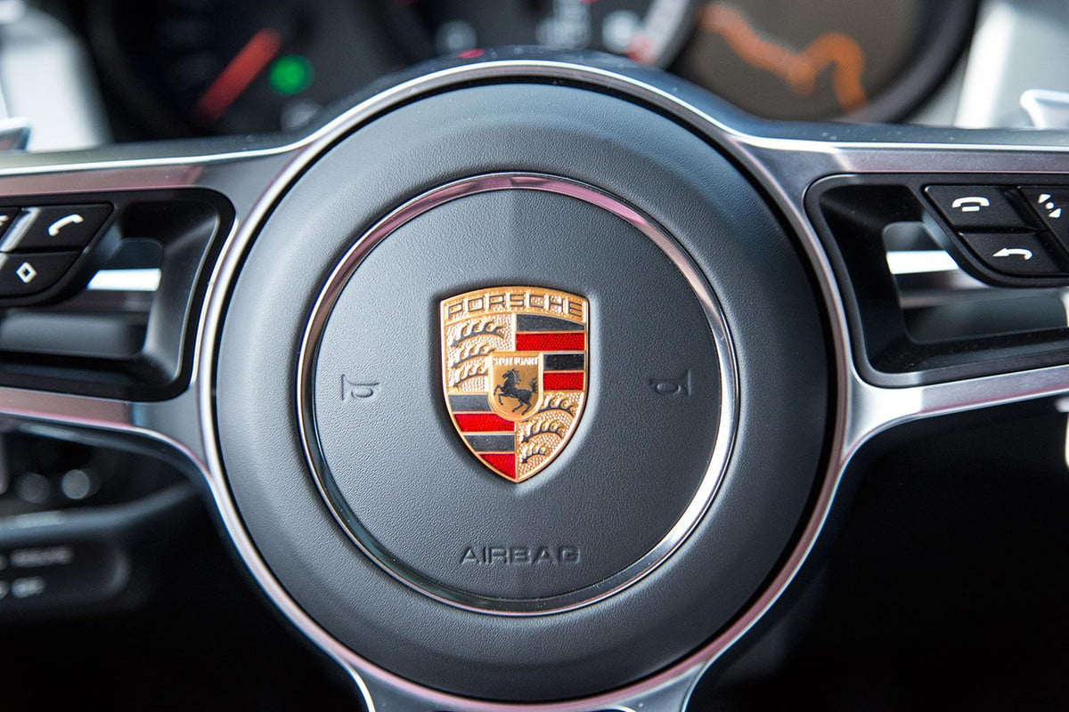 porsche mission e electric car production  macan steering wheel detail