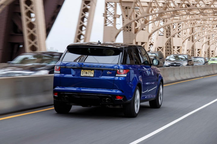 land rover range sport svr first drive driving back angle