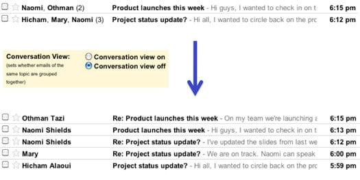 gmail threaded messages original conversation view